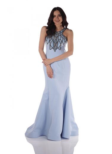 Pierre Cardin Taşlı Uzun Balık Abiye Elbise Mavi